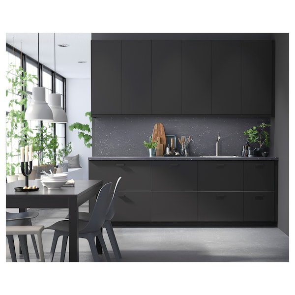 SÄLJAN Plan de travail, noir marbré/stratifié, 186x3.8 cm