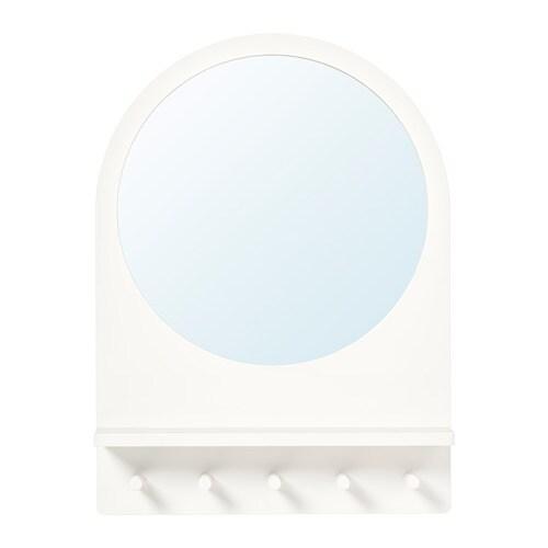 Saltröd Miroir Avec Tablette Et Crochets Blanc