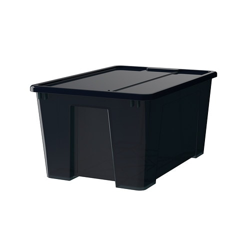 samla bo te avec couvercle noir 57x39x28 cm 45 l ikea. Black Bedroom Furniture Sets. Home Design Ideas