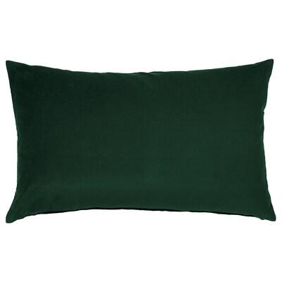 SANELA Housse de coussin, vert foncé, 40x65 cm