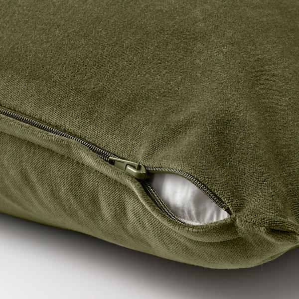 SANELA Housse de coussin, vert olive, 40x65 cm