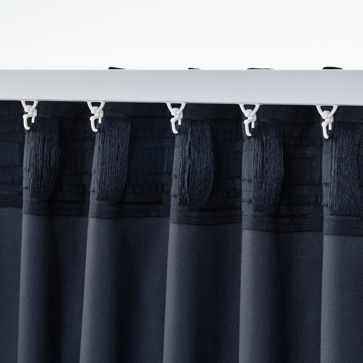 sanela rideaux 2 pieces bleu fonce 140x300 cm