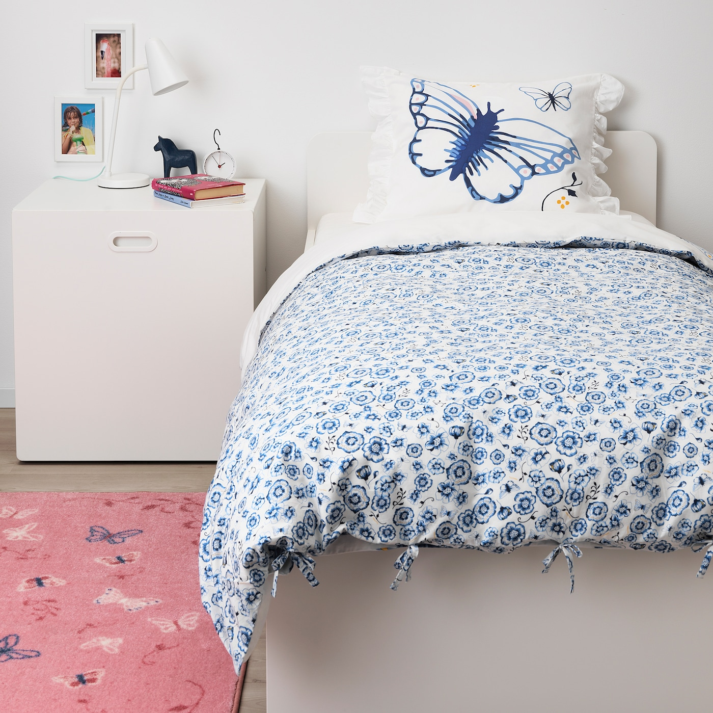 IKEA sommarmalva Queen housse de couette avec 2 taies Blanc Gris Foncé Papillons
