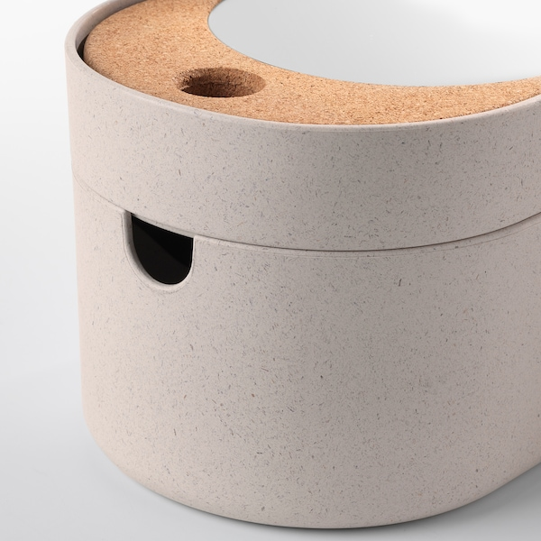SAXBORGA boîte de rangement couvercle miroir plastique liège 24 cm 17 cm 14 cm