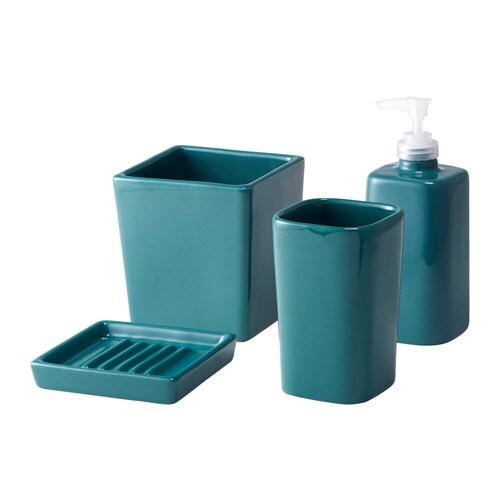 Sege accessoires bain 4 pi ces ikea - Accessoire salle de bain bleu ...