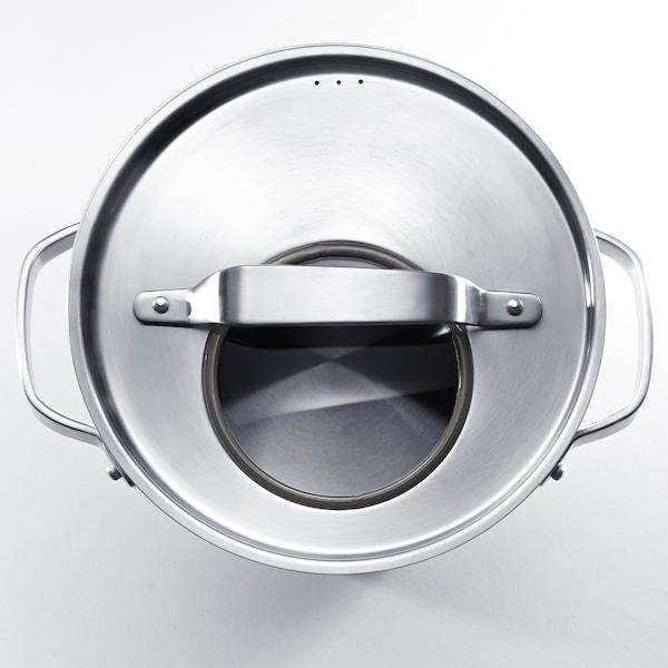 SENSUELL Faitout avec couvercle, acier inoxydable/gris, 5.5 l
