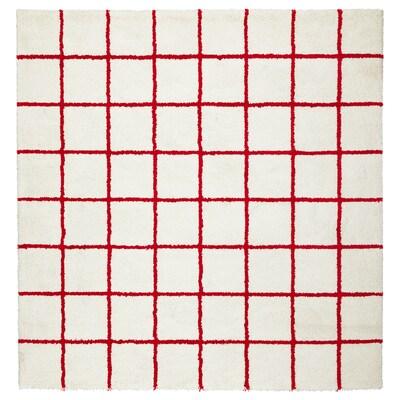 SIMESTED Tapis, poils hauts, blanc/rouge, 200x200 cm