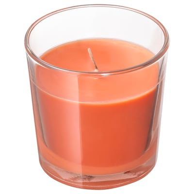 SINNLIG Bougie parfumée dans verre, pêche et orange/orange, 7.5 cm