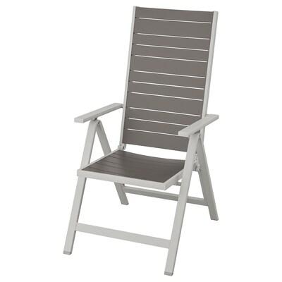 SJÄLLAND Chaise dossier réglable, extérieur, gris clair pliable/gris foncé