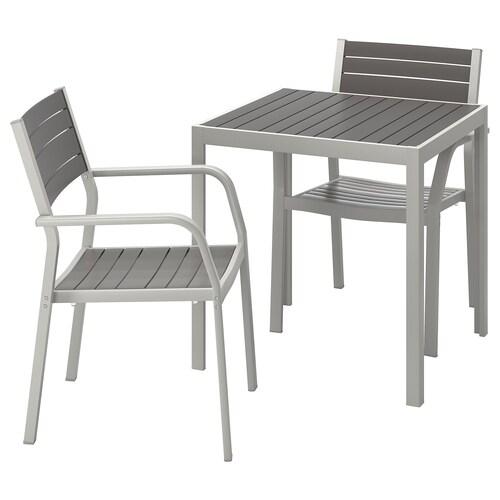 SJÄLLAND Table + 2 chaises accoudoir, ext gris foncé, gris clair 71x71x73 cm