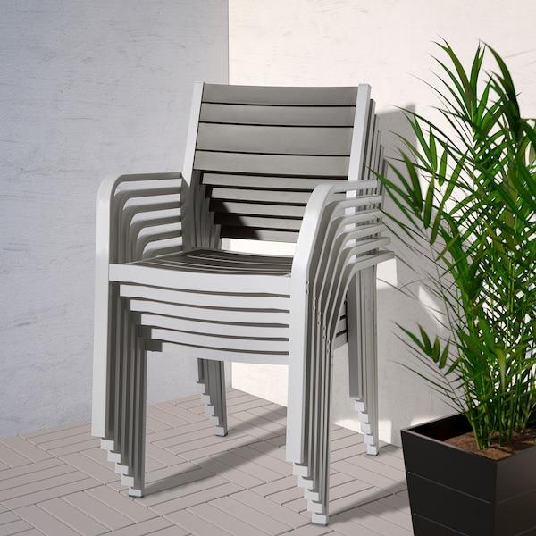 SJÄLLAND Table+6 chaises accoud, extérieur, gris foncé, gris