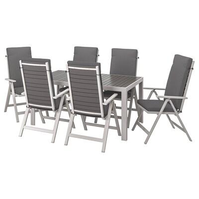 SJÄLLAND Table+6 chaises dossier réglable,ex, gris foncé/Frösön/Duvholmen gris foncé, 156x90 cm