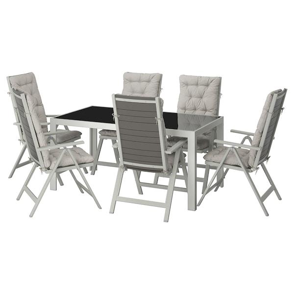 SJÄLLAND Table+6 chaises doss régl, ext verre, Kuddarna gris 156x90 cm