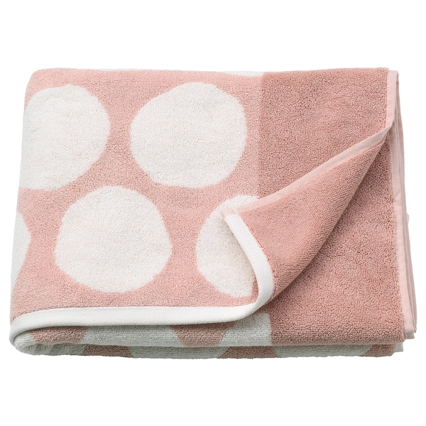SJÖVALLA Drap de bain, rose clair/blanc, 70x140 cm