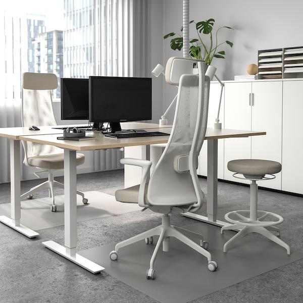 SKARSTA Pièt plateau table assis/debout, blanc, 120/160 cm