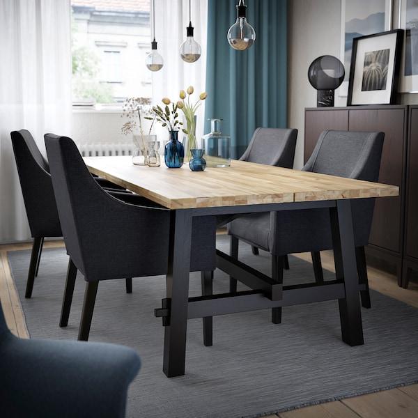 Table et 4 chaises SKOGSTA / SAKARIAS acacia noir, Sporda gris foncé