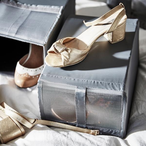 SKUBB Boîte à chaussures, gris foncé, 22x34x16 cm
