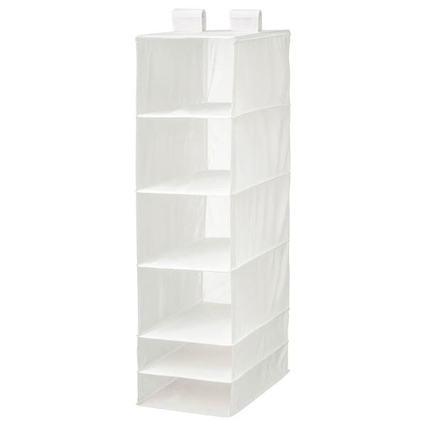 SKUBB Rangement à 6 compartiments, blanc, 35x45x125 cm