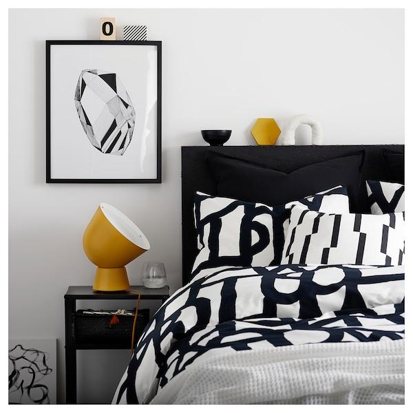 SKUGGBRÄCKA Housse de couette et 2 taies, blanc/noir, 240x220/65x65 cm