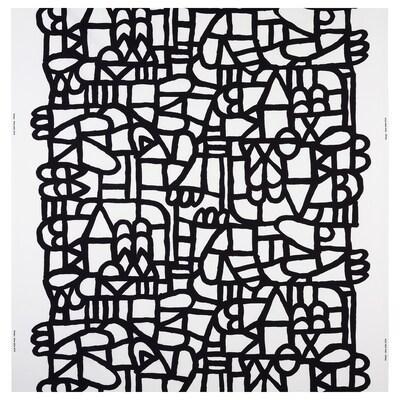 SKUGGBRÄCKA Tissu au mètre, blanc/noir, 150 cm
