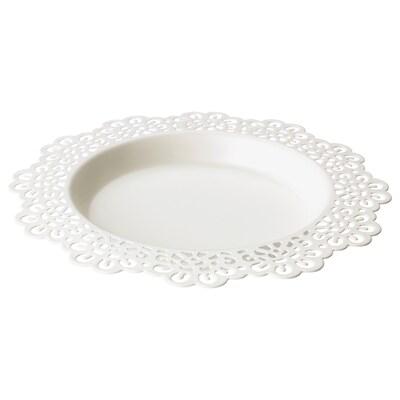 SKURAR Plat pour bougie, blanc, 18 cm
