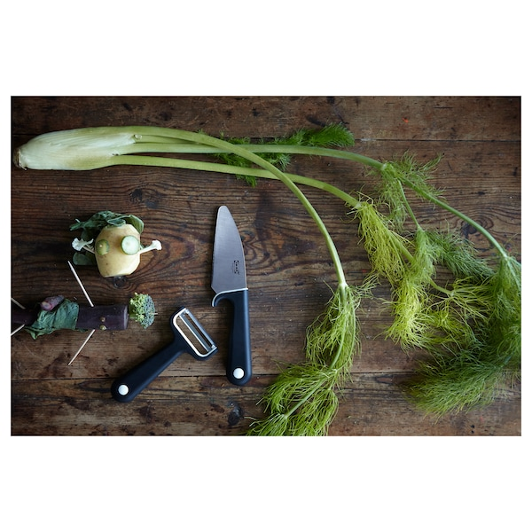 SMÅBIT Couteau et épluche-légumes, noir/blanc