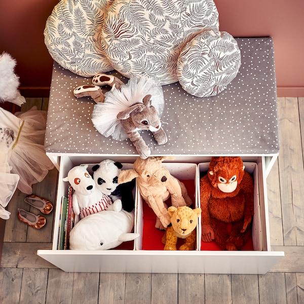 SMÅSTAD Banc avec rangement jouets, blanc/blanc, 90x50x48 cm