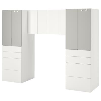 SMÅSTAD Combinaison de rangement, blanc/gris, 240x57x181 cm