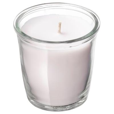 SMÅTREVLIG Bougie parfumée dans verre, vanille et sel marin/naturel, 7 cm