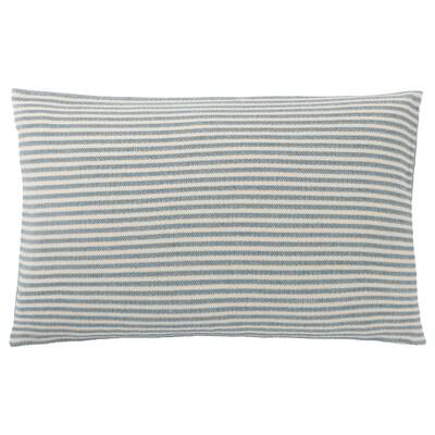 SNÖFRID housse de coussin turquoise/blanc 40 cm 65 cm