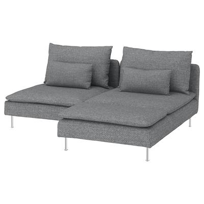 SÖDERHAMN Canapé 2 places, avec méridienne/Lejde gris/noir