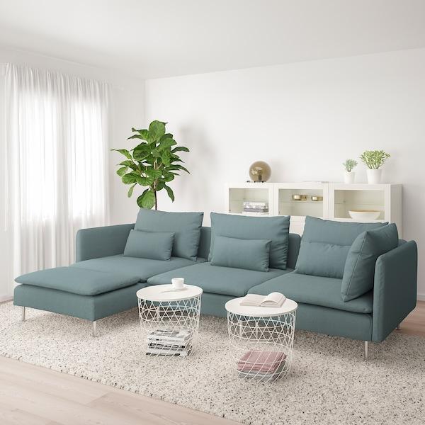 SÖDERHAMN Canapé 4 places, avec méridienne/Finnsta turquoise