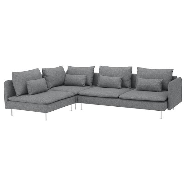 SÖDERHAMN Canapé d'angle, 4 places, sans accoudoir/Lejde gris/noir