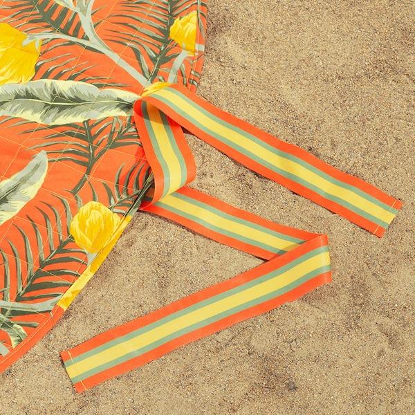 SOLBLEKT couverture pique-nique motif floral orange 170 cm 220 g 810 g