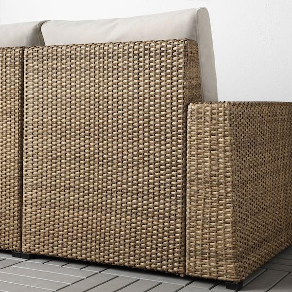SOLLERÖN Canapé 3 places modulable extérieur, brun/Frösön/Duvholmen beige, 223x82x88 cm