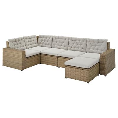 SOLLERÖN Canapé d'angle mod 4pl, ext, avec repose-pied brun/Kuddarna gris