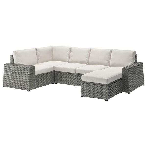 SOLLERÖN Canapé d'angle mod 4pl, ext, avec repose-pied gris foncé/Frösön/Duvholmen beige
