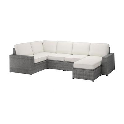 SOLLERÖN Canapé d'angle mod 4pl, ext, avec repose-pied gris foncé/Järpön/Duvholmen blanc