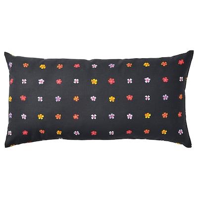 SOMMARBINKA Coussin, noir/multicolore, 30x58 cm