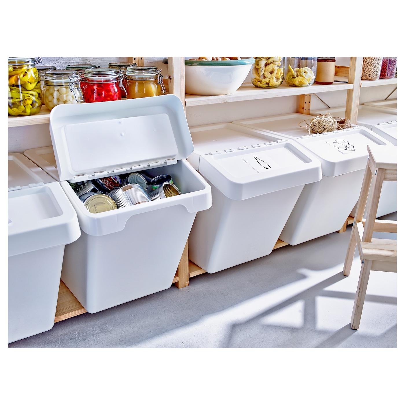 Sortera Conteneur Dechets Avec Couvercle Blanc 60 L Ikea