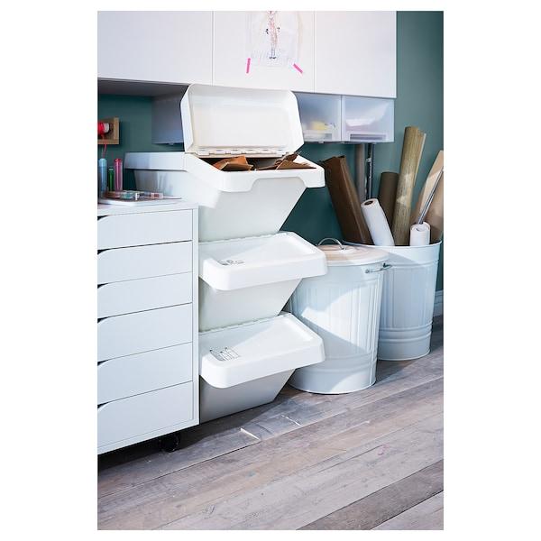 SORTERA Conteneur déchets avec couvercle, blanc, 37 l