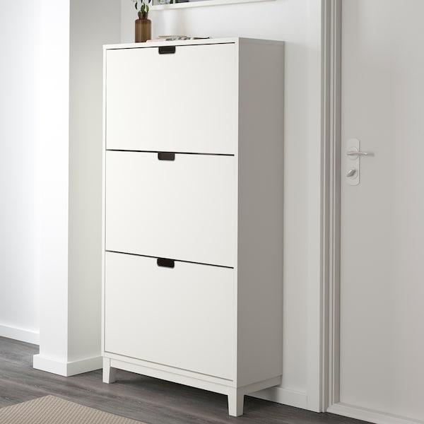 STÄLL Armoire à chaussures 3 casiers, blanc, 79x29x148 cm
