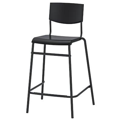 STIG Chaise de bar, noir/noir, 63 cm