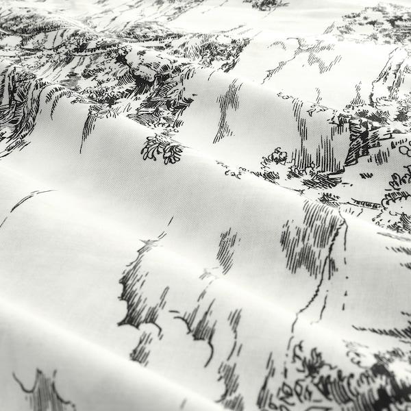 STJÄRNRAMS Housse de couette et 2 taies, blanc/gris, 240x220/65x65 cm