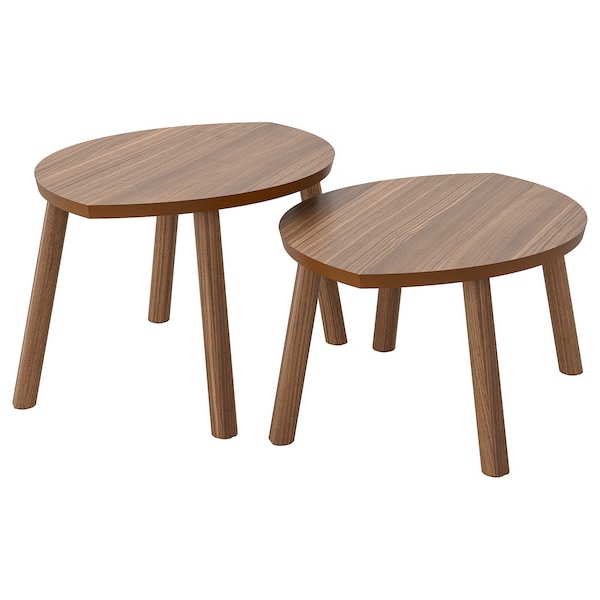 STOCKHOLM Tables gigognes, lot de 2, plaqué noyer