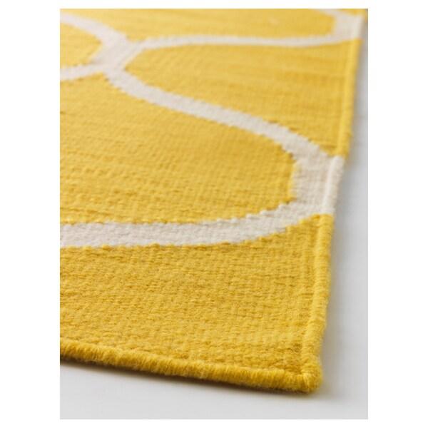 STOCKHOLM Tapis tissé à plat, fait main/motif à filet jaune, 170x240 cm
