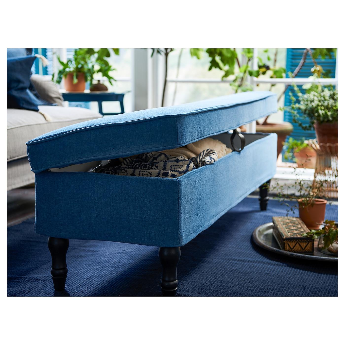 Stocksund Banquette Ljungen Bleu Noir Bois Ikea