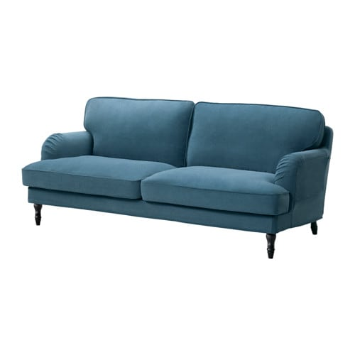 Stocksund canap 3 places ljungen bleu noir ikea for Sofa 70 cm de fondo
