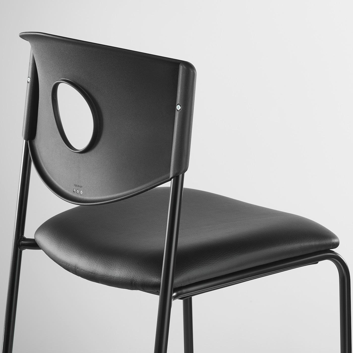 STOLJAN Structure chaise avec dossier noir