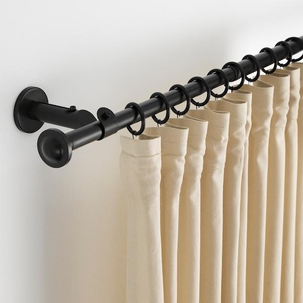 STORSLAGEN Set tringle à rideaux, noir, 120-210 cm